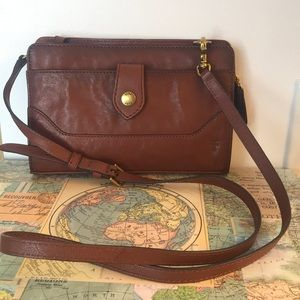 Frye Lucy Brown Leather Crossbody Clutch NWT